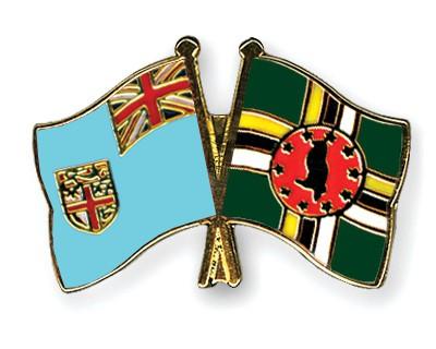 Crossed Flag Pins Fiji-Dominica