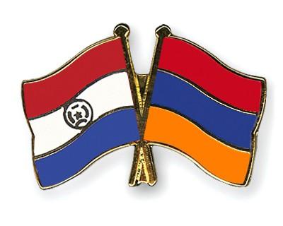 Crossed Flag Pins Paraguay-Armenia