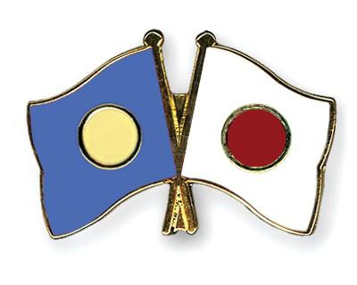 Crossed Flag Pins Palau-Japan