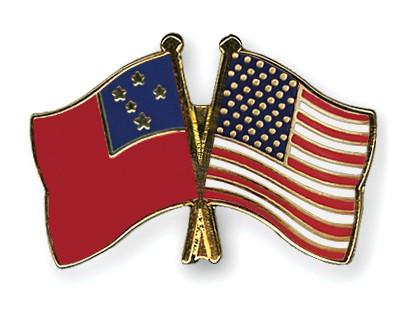 Crossed Flag Pins Samoa-USA