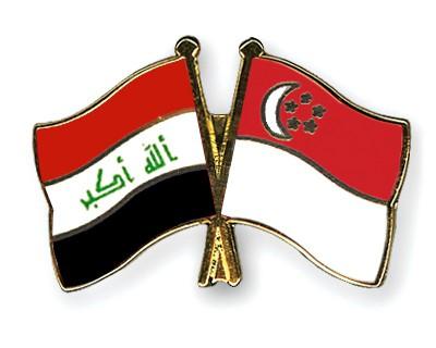 Crossed Flag Pins Iraq-Singapore