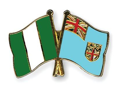 Crossed Flag Pins Nigeria-Fiji