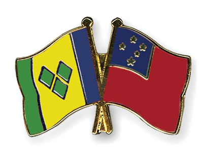 Crossed Flag Pins Saint-Vincent-and-the-Grenadines-Samoa