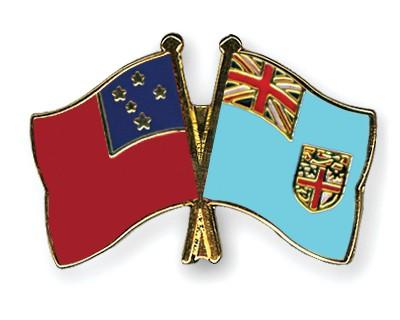 Crossed Flag Pins Samoa-Fiji