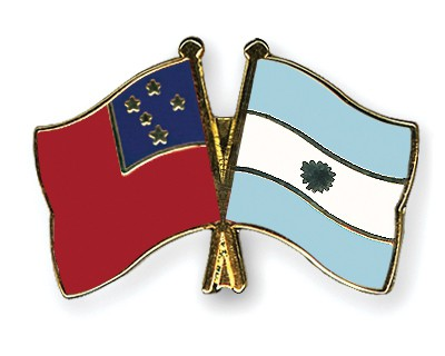 Crossed Flag Pins Samoa-Argentina