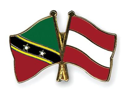 Crossed Flag Pins Saint-Kitts-and-Nevis-Austria