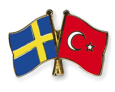 Special Offer Crossed Flag Pins Sweden-Turkey
