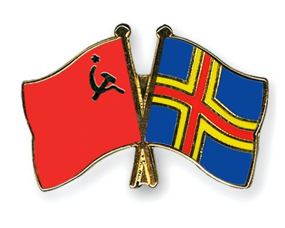 Crossed Flag Pins USSR-Aland