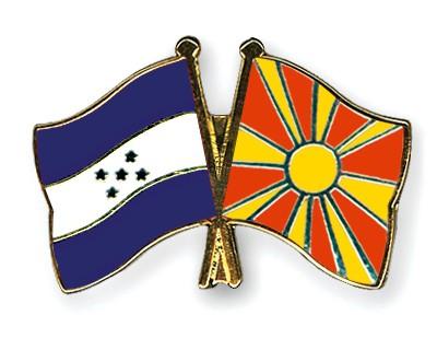 Crossed Flag Pins Honduras-Macedonia