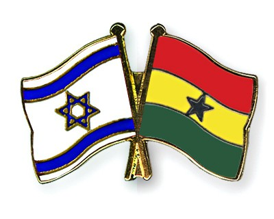 Crossed Flag Pins Israel-Ghana