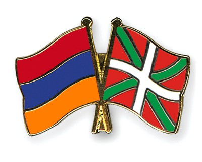 Crossed Flag Pins Armenia-Basque-country