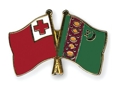 Crossed Flag Pins Tonga-Turkmenistan