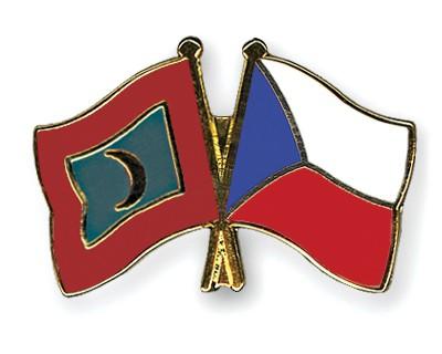 Crossed Flag Pins Maldives-Czech-Republic