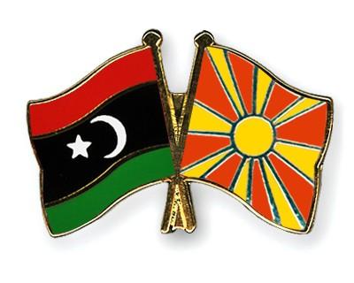 Crossed Flag Pins Libya-Macedonia