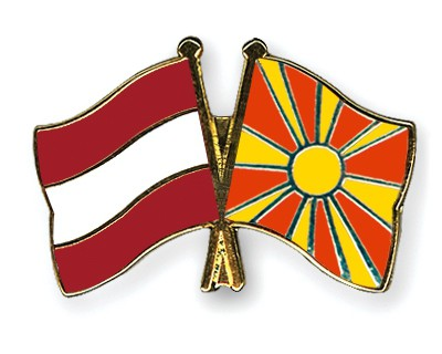 Special Offer Crossed Flag Pins Austria-Macedonia