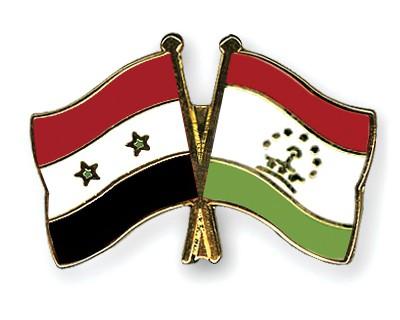Crossed Flag Pins Syria-Tajikistan