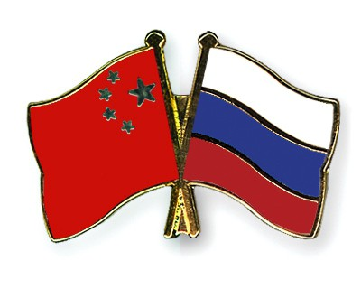 Crossed Flag Pins China-Russia
