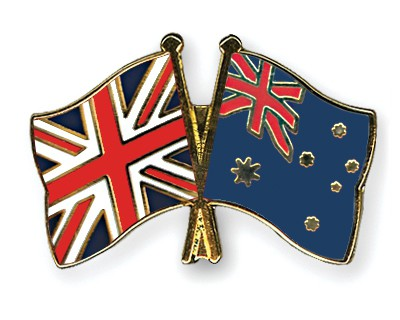 Crossed Flag Pins Great-Britain-Australia