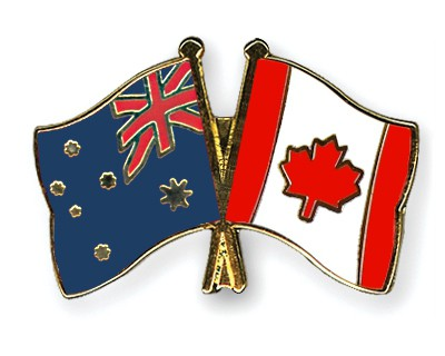 Special Offer Crossed Flag Pins Australia-Canada