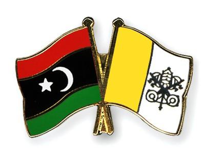 Crossed Flag Pins Libya-Vatican-City