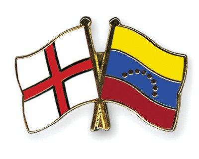 Crossed Flag Pins England-Venezuela