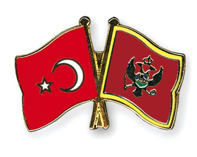 Crossed Flag Pins Turkey-Montenegro