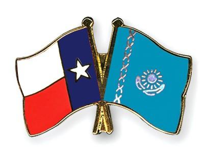 Crossed Flag Pins Texas-Kazakhstan
