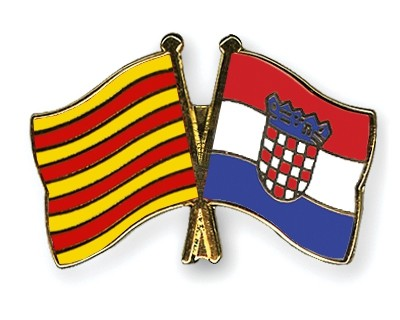 Special Offer Crossed Flag Pins Catalonia-Croatia