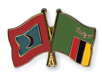Crossed Flag Pins Maldives-Zambia