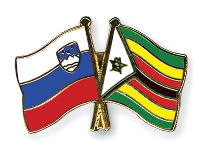 Crossed Flag Pins Slovenia-Zimbabwe