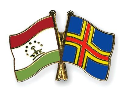 Crossed Flag Pins Tajikistan-Aland