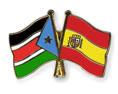 Crossed Flag Pins South-Sudan-Spain