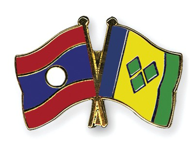Crossed Flag Pins Laos-Saint-Vincent-and-the-Grenadines
