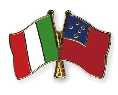 Crossed Flag Pins Italy-Samoa