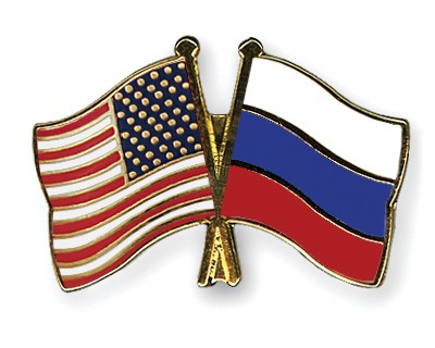Crossed Flag Pins USA-Russia