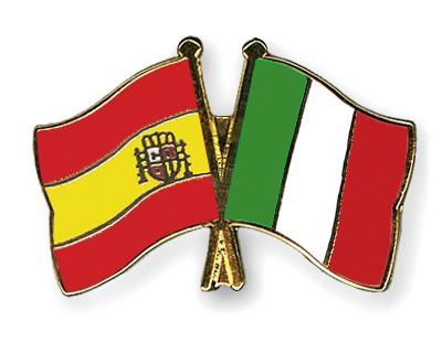 Crossed Flag Pins Spain-Italy