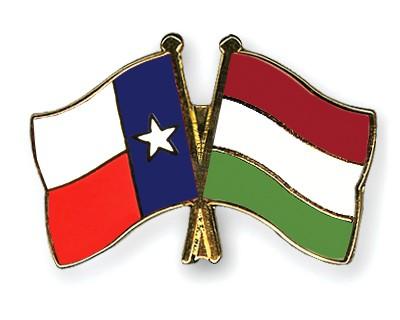 Crossed Flag Pins Texas-Hungary
