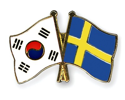 Crossed Flag Pins South-Korea-Sweden
