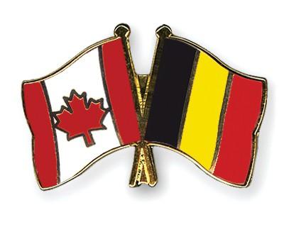Special Offer Crossed Flag Pins Canada-Belgium