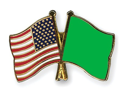 Special Offer Crossed Flag Pins USA-Libya-(1977-2011)