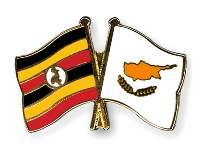 Crossed Flag Pins Uganda-Cyprus