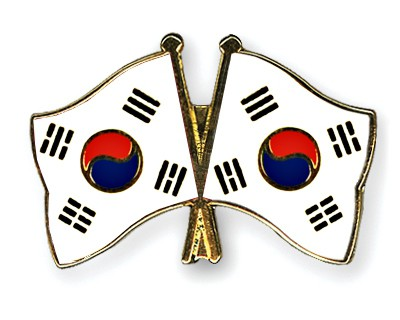 Crossed Flag Pins South-Korea-South-Korea