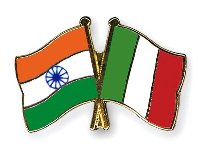 Crossed Flag Pins India-Italy
