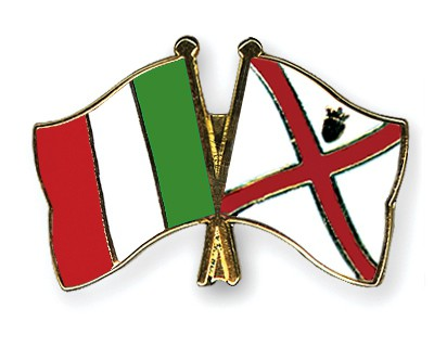 Crossed Flag Pins Italy-Jersey