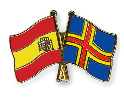 Crossed Flag Pins Spain-Aland