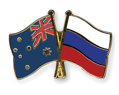 Special Offer Crossed Flag Pins Australia-Russia
