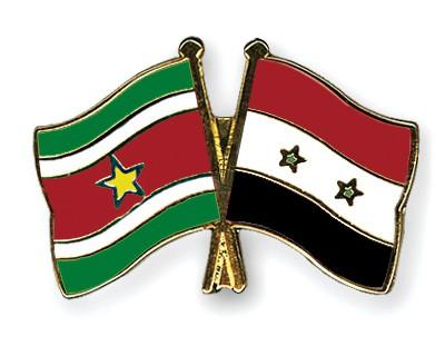 Crossed Flag Pins Suriname-Syria