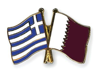 Crossed Flag Pins Greece-Qatar