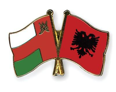 Crossed Flag Pins Oman-Albania