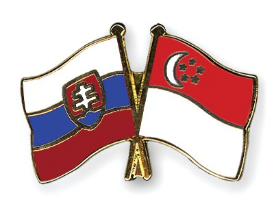 Special Offer Crossed Flag Pins Slovakia-Singapore